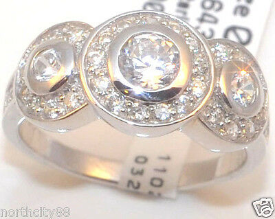 (Genuine 925 Sterling Silver Ring CZ Circonia 3 Stone Ring right hand pave womens)