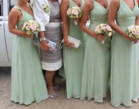 Beautiful sage green bridesmaid dresses x3. Cost £175 each. Worn once. Dry cleaned. Bargain £50 each