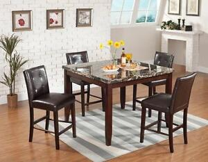 BRAND NEW!! FAUX MARBLE, COUNTER HEIGHT 5 PC DINING SET