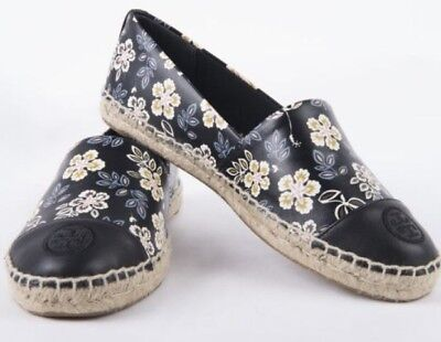 Tory Burch Hopewell Black Printed Nappa Leather ColorBlock Espadrille Shoes Flat
