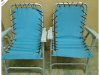 Pair of folding turquoise garden chairs