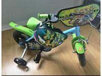 Boys 12 inch teenage turtle bike and helmet