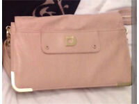 Designer Large Misha Barton Nude / Peach Clutch Bag With Detachable Strap Rrp £89.99