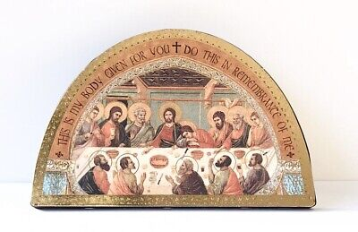 """LAST SUPPER / HOLY EUCHARIST ICON - 7"""" Wood Plaque / Gold Foil Highlights"""