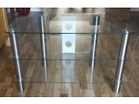 Chrome/glass corner tv stand