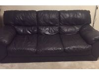 Black Leather Style Sofa - Free for Collection (Three Seater)