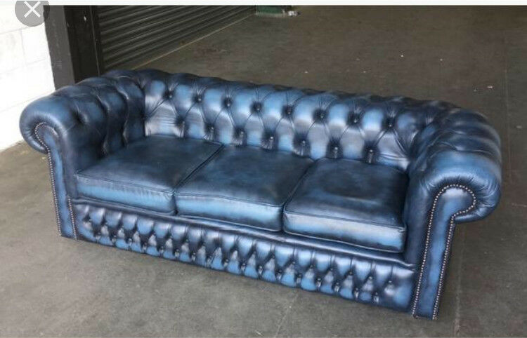 Blue Leather Chesterfield Sofa Bed | Baci Living Room