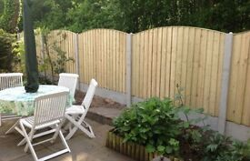 Pressure Treated Wooden Bow Top Feather Edge Garden Fence Panels 🌲