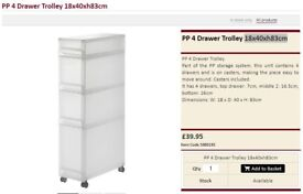 MUJI Drawer storage Trolley 18x40xh83cm WITH CASTERS! Chipped but NEW!