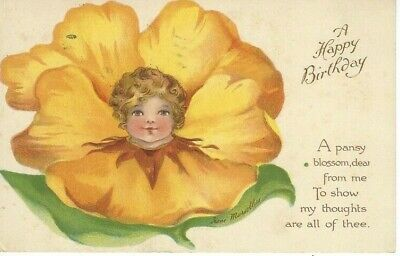 ANTIQUE BIRTHDAY Postcard     PANSY FLOWER FACE