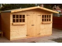 12x10FT NEW T&G TIMBER APEX GARDEN STORAGE SHED QUALITY ASSEMBLED OVERHANG ROOF