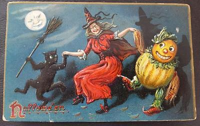 Tuck's 150 Series Halloween Postcard Witch & Black Cat Dancing with Gourd Man