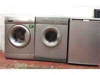 3 x Grey Kitchen Appliances Washing Machine Tumble Dryer Freezer
