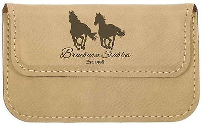 Personalized Business Card Holder Leather Case Custom Engraved Light Brown  ()