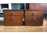 2 vintage STAG teak 2 drawer bedside table cabinets, amazing condition