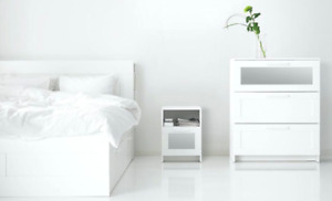 Queen size white Ikea bed with storage