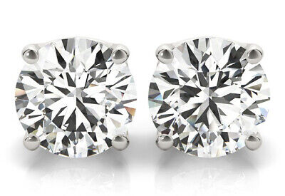 3 carat Round cut Diamond Studs 14k White Gold Earrings GIA certified H SI2