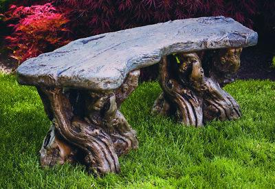 Timber Bench - Outdoor Concrete Garden Furniture Seat Patio ()