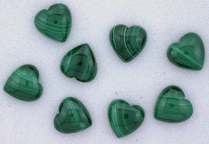 ONE 8mm Heart Natural Malachite Cab Cabochon Gem Stone Gemstone African EBS6540