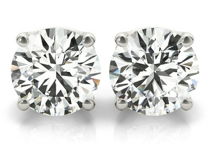 2.50 Carat Round Diamond Studs 14k White Gold Earrings, GIA report I color SI2