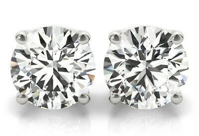1.00 ct Round cut Diamond Studs 18k White Gold Earrings GIA certified D IF