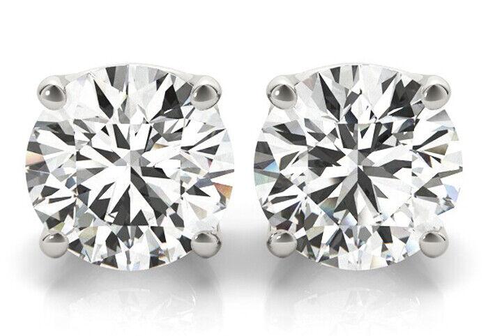 1.20 carat Round cut Diamond Stud 18k White Gold Earrings GIA certificate F VS