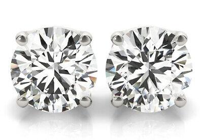 1 Carat Round Diamond Studs 18k White Gold Earrings triple Excellent I VS2 GIA