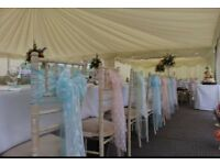 Chair cover hire, linen hire, table centrepieces for weddings, parties, christenings, anniversaries.