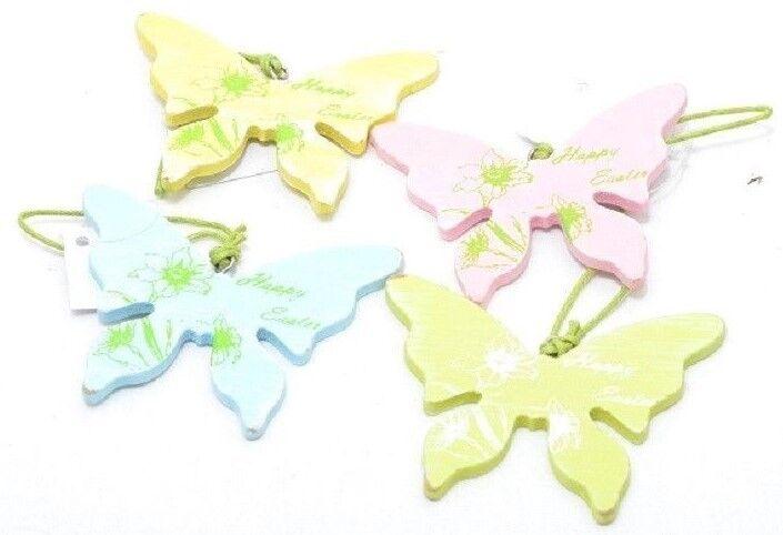 Osterdeko Schmetterling aus Holz Ostern 4 Farben blau rose gelb grün der Set