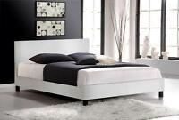 BRAND NEW White Faux Leather Platform Bed with FREE Delivery!