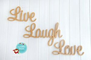Details about wooden raw mdf letter word live laugh love wall decor