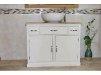 oak top bathroom wash stand vanity unit with ceramic basin bowl. Painted Solid oak