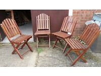 Set Of Four Folding Chairs For The Garden Or Patio