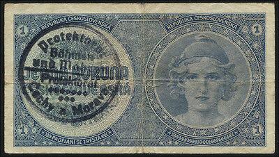 Ro.556a Böhmen & Mähren 1 Krone (1940) Handstempel (3)