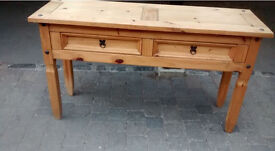 Pine table, with two drawers