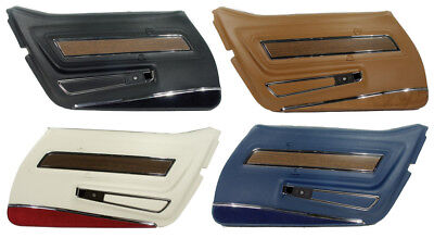 1970-1976 Corvette Deluxe Door Panels with Lower Carpet Strips. New Pair!!! Deluxe Door Panel Carpet