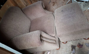 Beige chair with nailhead trim and matching ottoman-$25