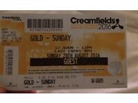 2x GOLD Creamfields Sunday Tickets