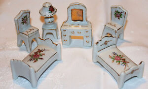 Occupied Japan Made Porcelain Miniature Doll's Furniture