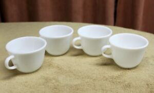 4 Pyrex White Milk Glass Coffee/ Tea cups  Holds 8 Ozs.  Vintage