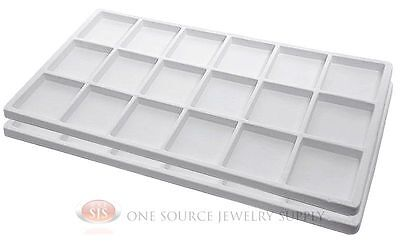 2 White Insert Tray Liners W 18 Compartments Drawer Organizer Jewelry Displays
