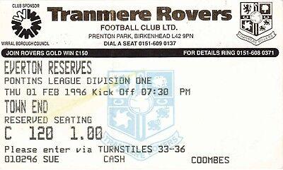 Ticket - Tranmere Rovers Reserves v Everton Reserves 01.02.96