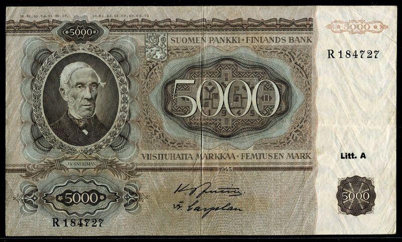 Finland 1945, 5000 Markkaa, P83a, VF