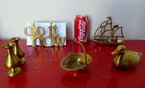 5 Articles en laiton Canard, bateau... 5 Brass articles, Duck...