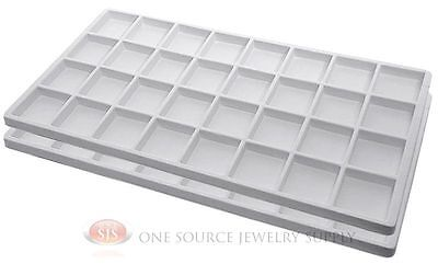 2 White Insert Tray Liners W 32 Compartments Drawer Organizer Jewelry Displays