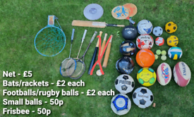 Variety of balls bats and rackets