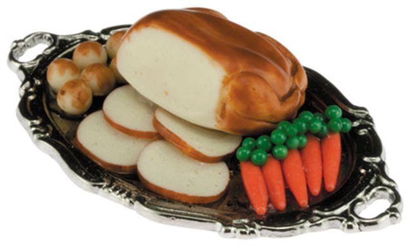 Dollhouse Miniature 1:12 Scale Turkey Dinner on Serving Platter