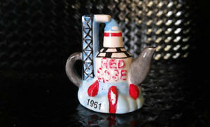 Miniature Red Rose Teapot - Space Rocket 1961