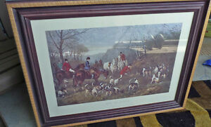 RUN TO EARTH FRAMED ART BY HEYWOOD HARDY, LARGE COLOUR ENGRAVING