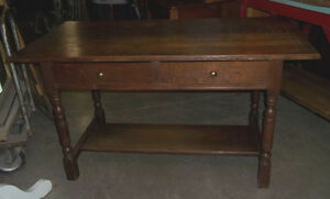 Oak Trestle Table With Two Drawers And Stretcher
